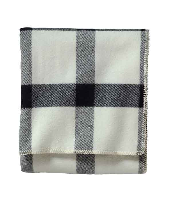 Eco Wise Queen Bed Blanket - Ivory/Black Plaid