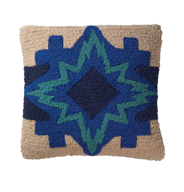 North Star Hooked Wool Pillow